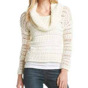 DKNY Jeans Ivory White Crochet Chunky Cowl Sweater